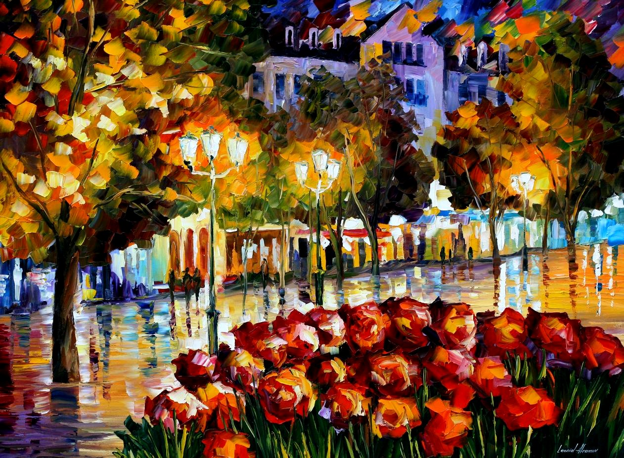 Modern impressionism palette knife oil painting kp15113
