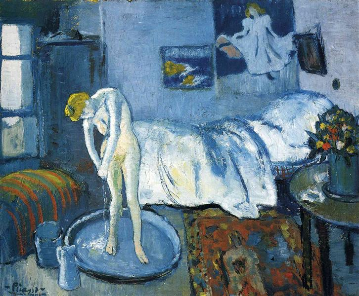 Pablo Picasso Oil Painting A Blue Room Female Nude