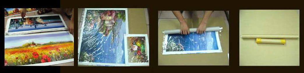 Stretched painting and packing